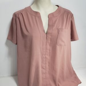 Faith and Joy Pink Short Sleeve Blouse